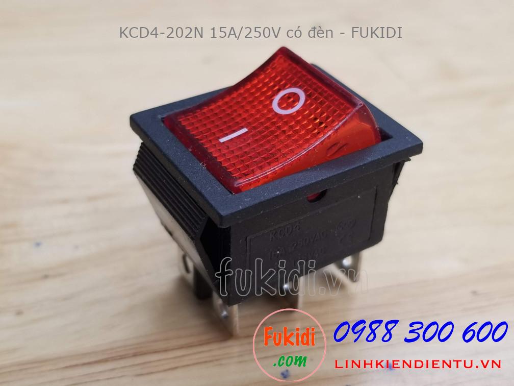 Công tắc nguồn KCD4-202N 15A/250V size 25.4x31mm có đèn LED sáng màu đỏ