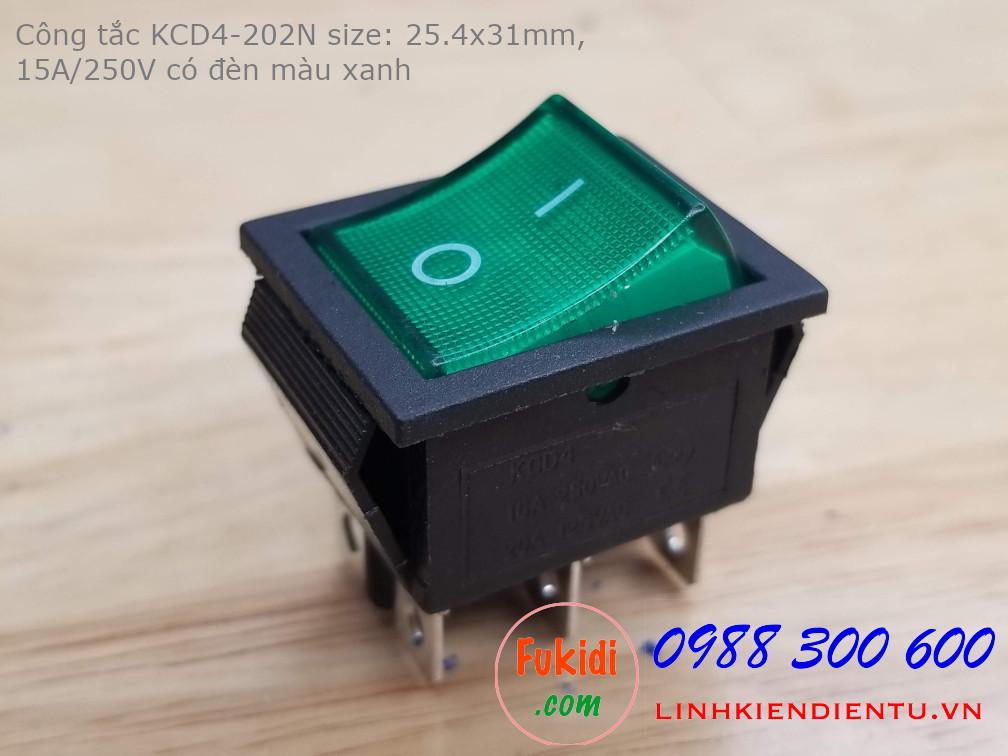 Công tắc nguồn KCD4-202N 15A/250V size 25.4x31mm có đèn LED sáng màu xanh
