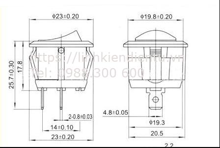 Kích thước của công tắc tròn (bập bênh) 10A/250V 20mm