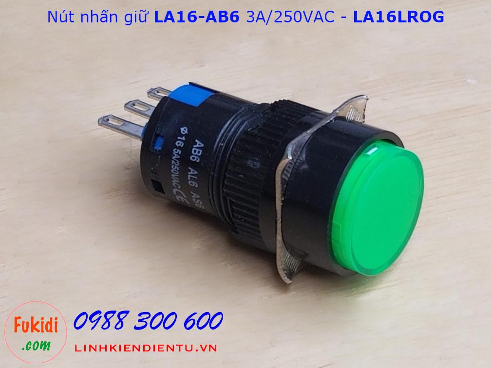 Công tắc nút nhấn giữ LA16 AB6 3A/250V phi 16mm màu xanh - LA16LROG