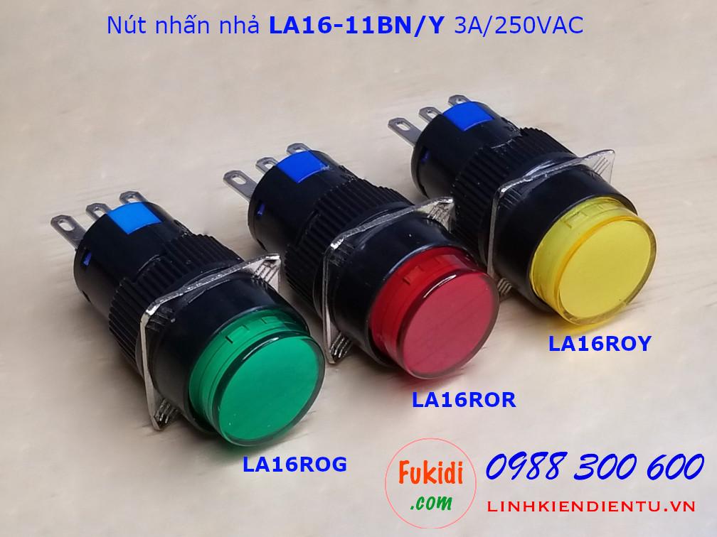 Nút nhấn nhả LA16-11BN/Y 3A/250VAC phi 16mm, tròn màu đỏ - LA16ROR