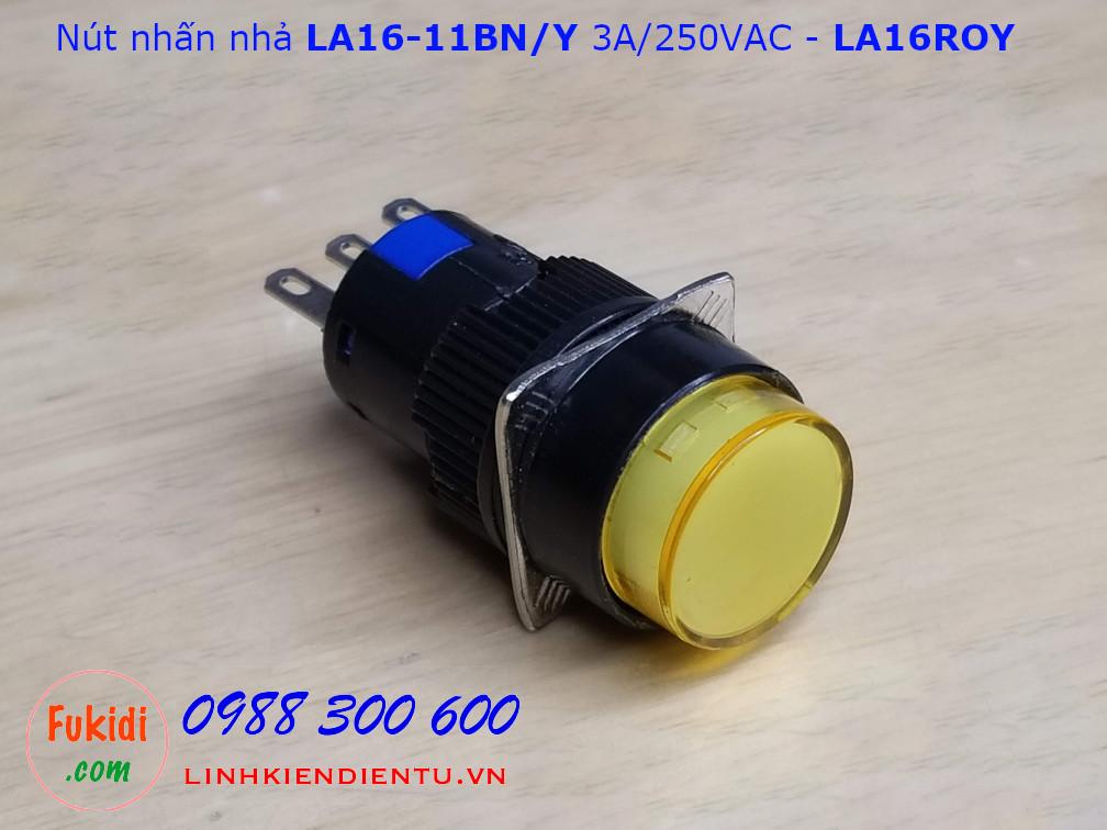 Nút nhấn nhả LA16-11BN/Y 3A/250VAC phi 16mm, tròn màu vàng - LA16ROY