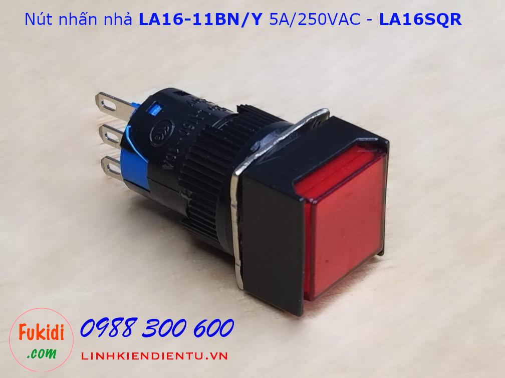 Nút nhấn nhả LA16-11BN/Y 5A/250VAC phi 16mm, đầu vuông màu đỏ - LA16SQR