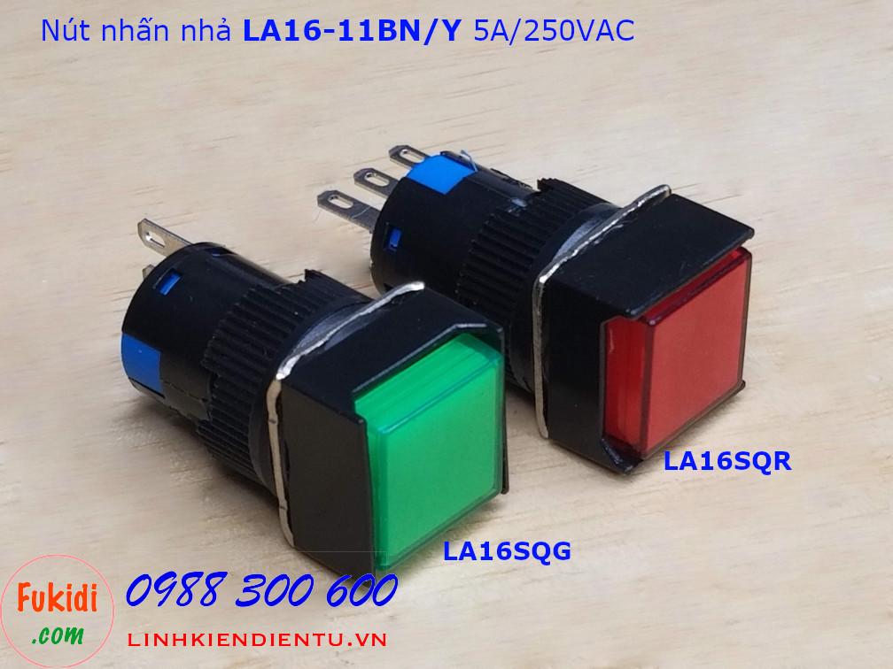 Nút nhấn nhả LA16-11BN/Y 5A/250VAC phi 16mm,  đầu vuông màu xanh - LA16SQG