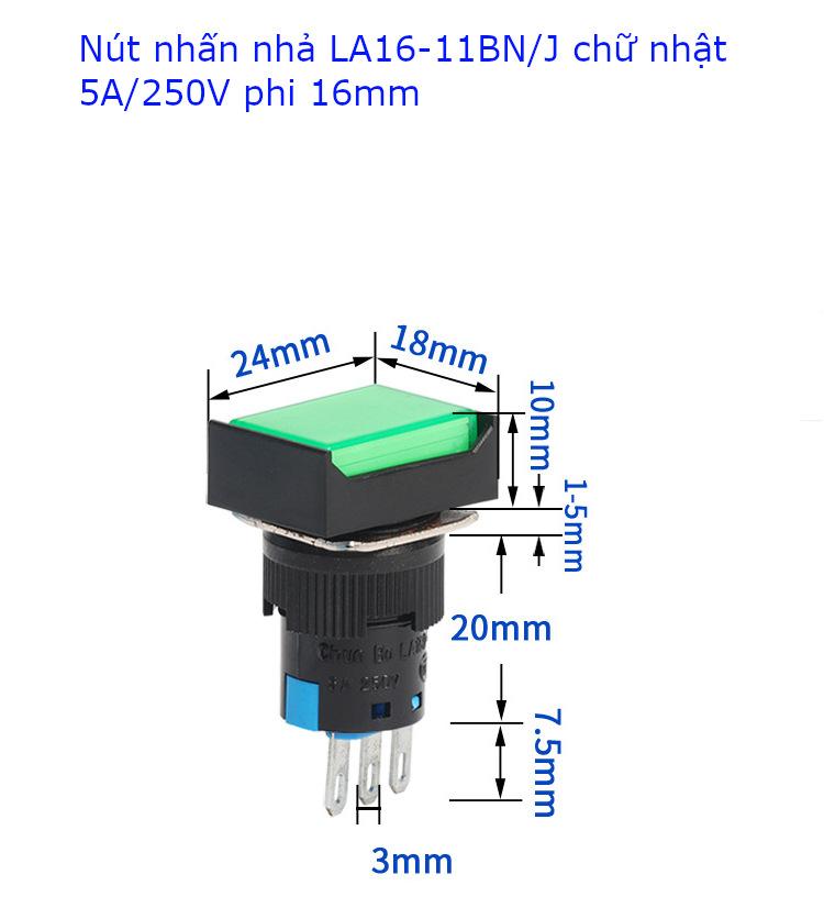 Nút nhấn nhả LA16-11BN/J 5A/250VAC đầu chữ nhật phi 16mm màu đỏ - LA16RER