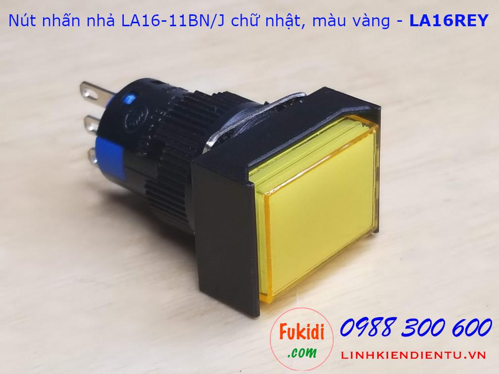 Nút nhấn nhả LA16-11BN/J 5A/250VAC đầu chữ nhật phi 16mm màu vàng - LA16REY
