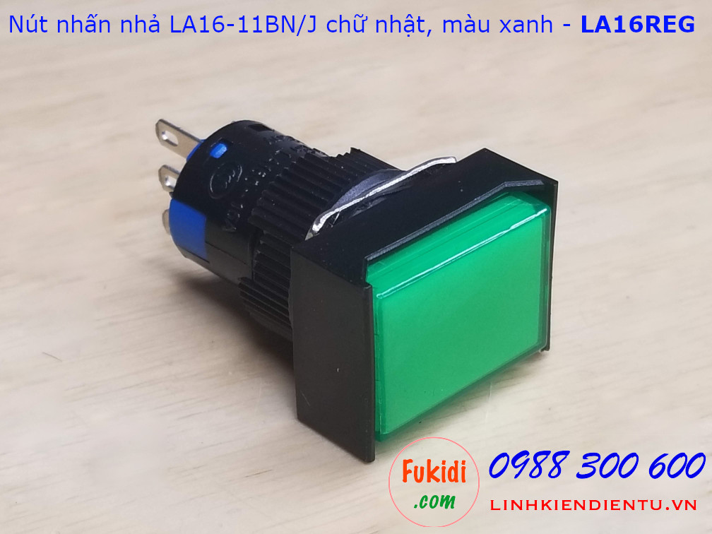 Nút nhấn nhả LA16-11BN/J 5A/250VAC đầu chữ nhật phi 16mm màu xanh - LA16REG