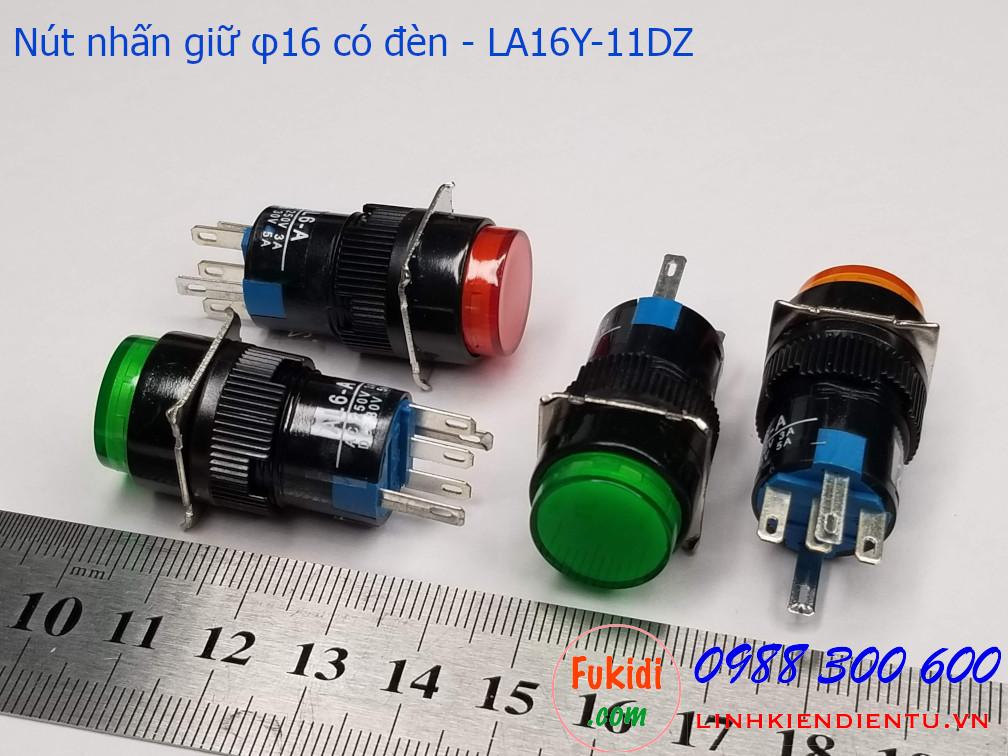 Nút nhấn giữ 16mm vỏ nhựa có đèn đỏ 14V LA16Y-11DZ - LA16LROR