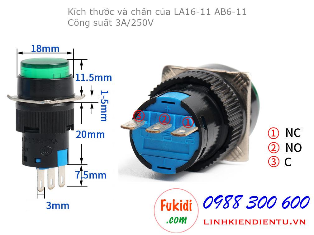 Công tắc nút nhấn nhả LA16-11 AB6-11 phi 16mm,  hình tròn màu đỏ