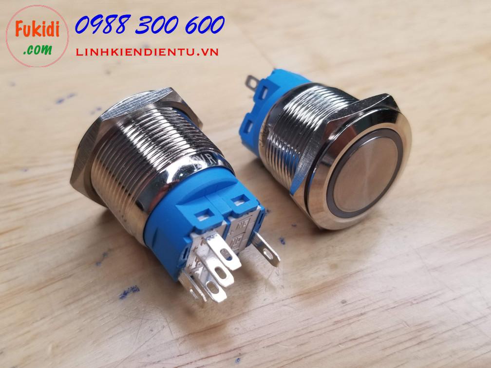 Nút reset vỏ kim loại, 12-24V, phi 22mm có đèn màu xanh lục BN2224B