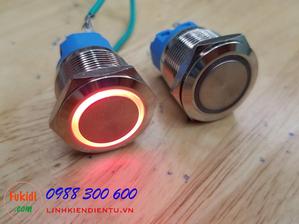 Nút reset vỏ inox, điện áp 12-24V, phi 22mm có đèn LED màu đỏ BN2224R