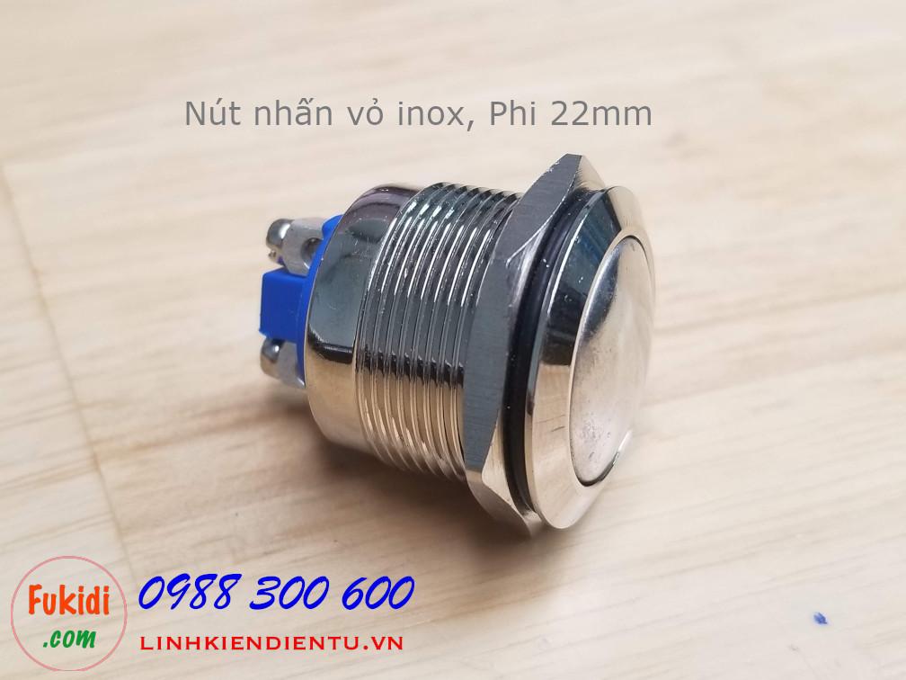BN2224NL Nút nhấn vỏ inox, phi 22mm, mặt nút cong, không đèn