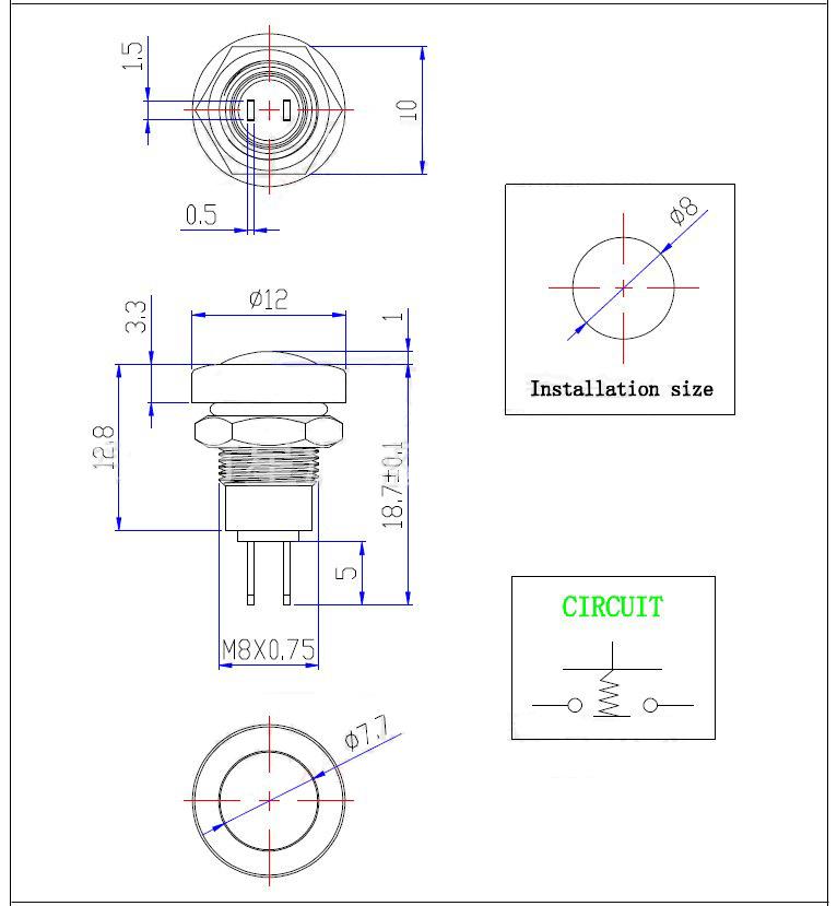 Nút nhấn nhả phi 8mm, vỏ kim inox cao cấp, chống nước IP65
