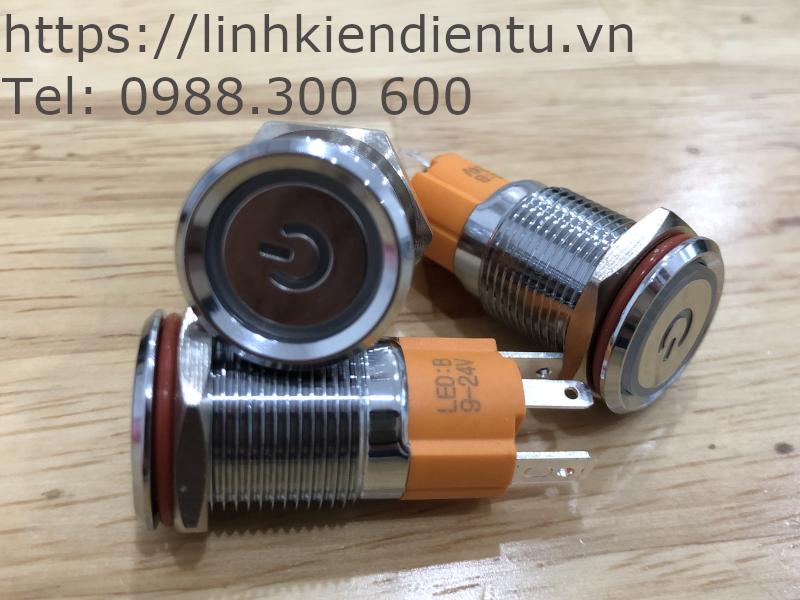 Công tắc nút nhấn/nhả vỏ kim loại, có đèn báo đường kính 16mm
