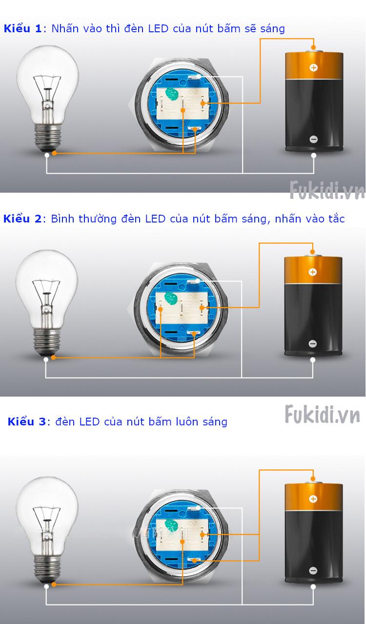 BN1924B - Nút nhấn nhả có đèn, vỏ inox, phi 19mm, 24v đèn LED hình tròn màu xanh lục - kích thước