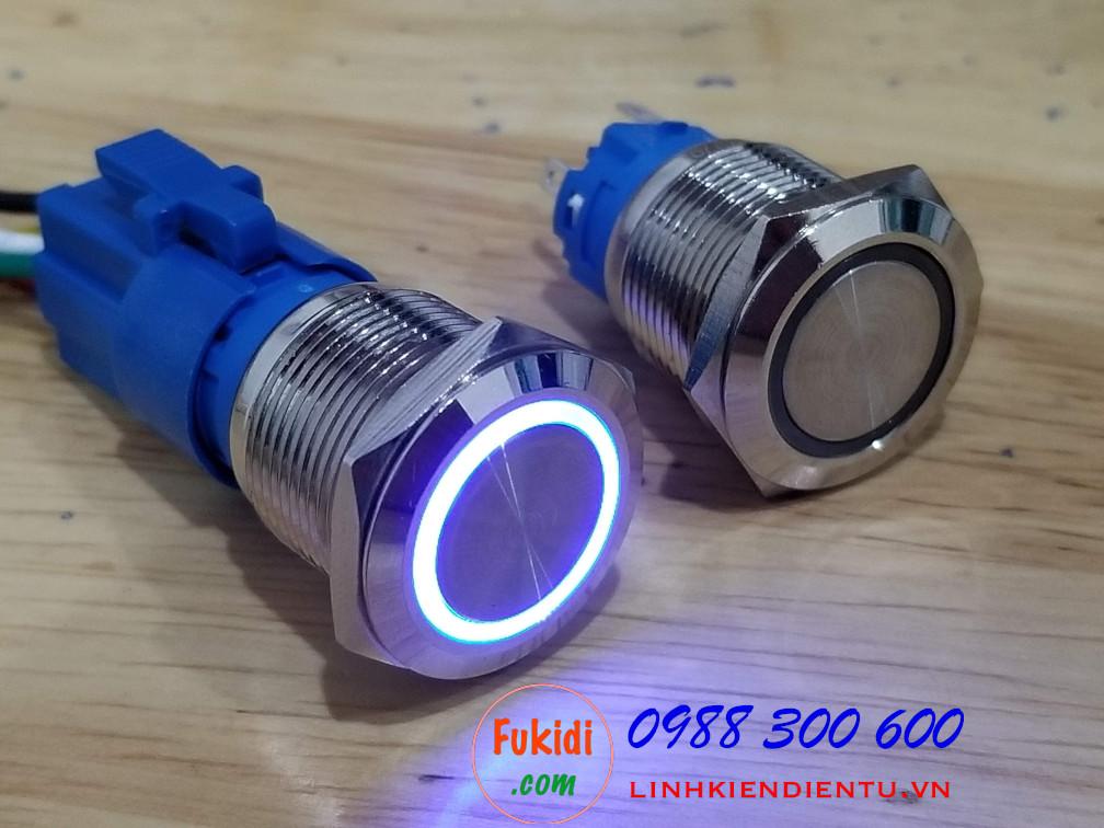 BN1924B - Nút nhấn nhả có đèn, vỏ inox, phi 19mm, 24v đèn LED hình tròn màu xanh lục