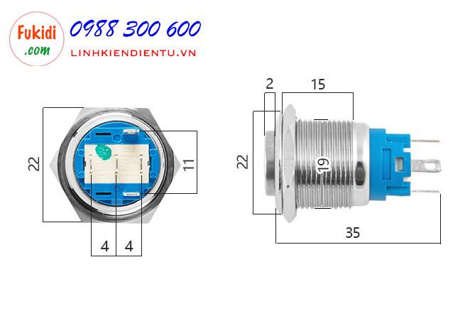 BN1924G - Nút nhấn nhả có đèn, vỏ inox, phi 19mm, 24v đèn LED hình tròn màu xanh lá