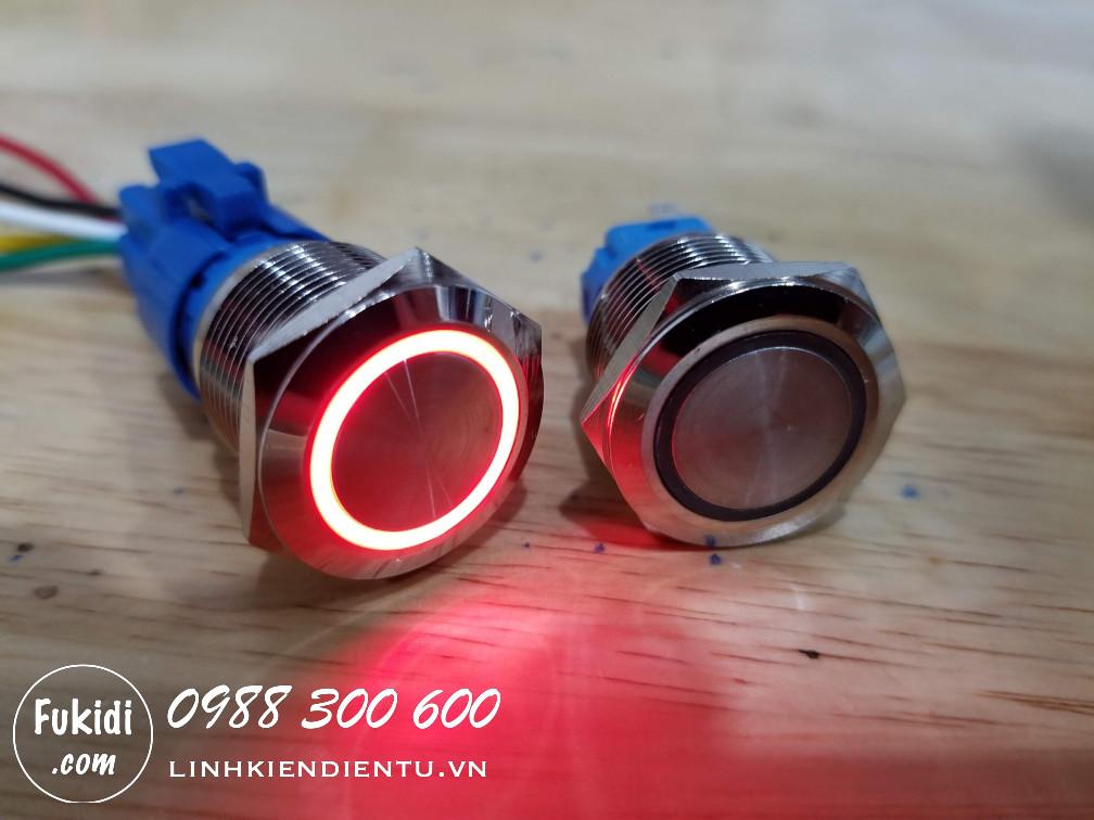 Nút nhấn nhả có đèn, vỏ inox, phi 19mm, 24v đèn LED hình tròn màu đỏ