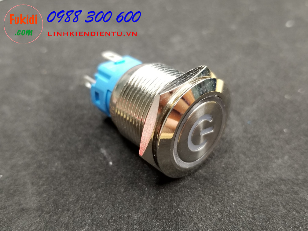 BN1924PB - Nút nhấn nhả có đèn, vỏ inox, phi 19mm, 24v đèn LED hình nút nguồn màu xanh lục