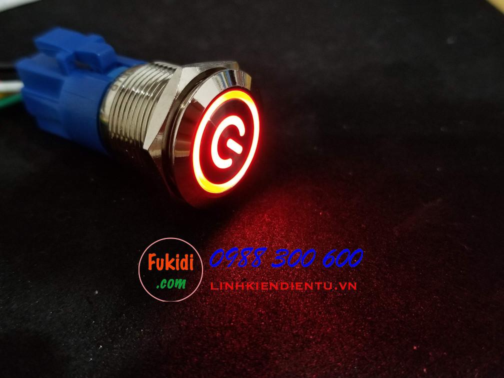 BN1924PR - Nút nhấn nhả có đèn, vỏ inox, phi 19mm, 24v đèn LED hình nút nguồn màu đỏ