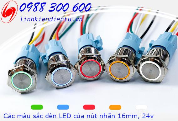 Nút nhấn nhả có đèn, vỏ inox phi 16mm, 24v đèn LED màu đỏ