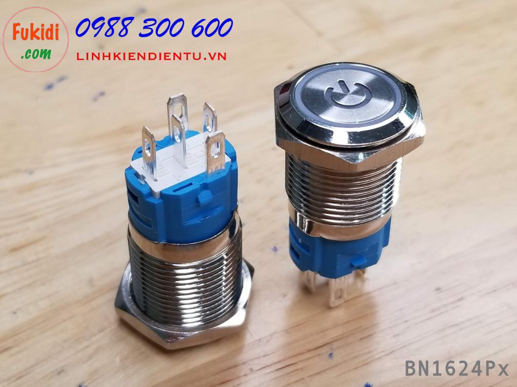 BN1624PG Nút nhấn nhả vỏ kim loại phi 16mm, điện áp 24V, chống thấm nước, đèn hình biểu tượng nguồn màu xanh lá