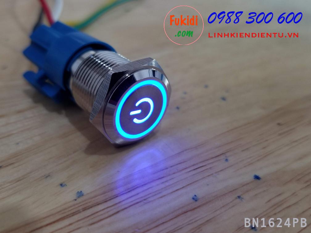 BN1624PB Nút nhấn nhả vỏ kim loại phi 16mm, điện áp 24V, chống thấm nước, đèn hình biểu tượng nguồn màu xanh lục