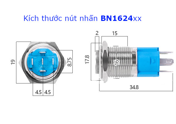 BN1624PR Nút nhấn nhả vỏ kim loại phi 16mm, điện áp 24V, chống thấm nước, đèn hình biểu tượng nguồn màu đỏ