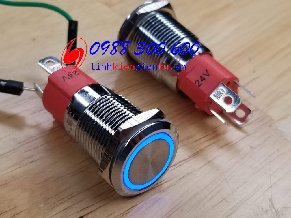 Nút nhấn nhả có đèn, vỏ inox, phi 16mm, 12A 24V đèn LED màu xanh