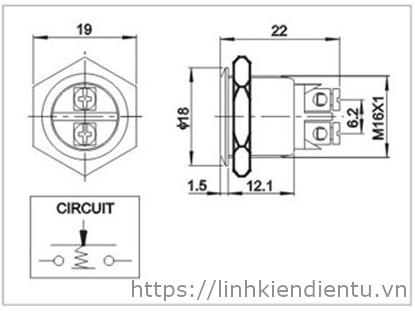 Nút nhấn/nhả (reset) 16mm, vỏ kim loại - kich thước chi tiết