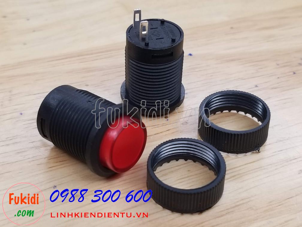 Công tắc nút nhấn giữ R16-503A màu đỏ, phi 16mm, không đèn