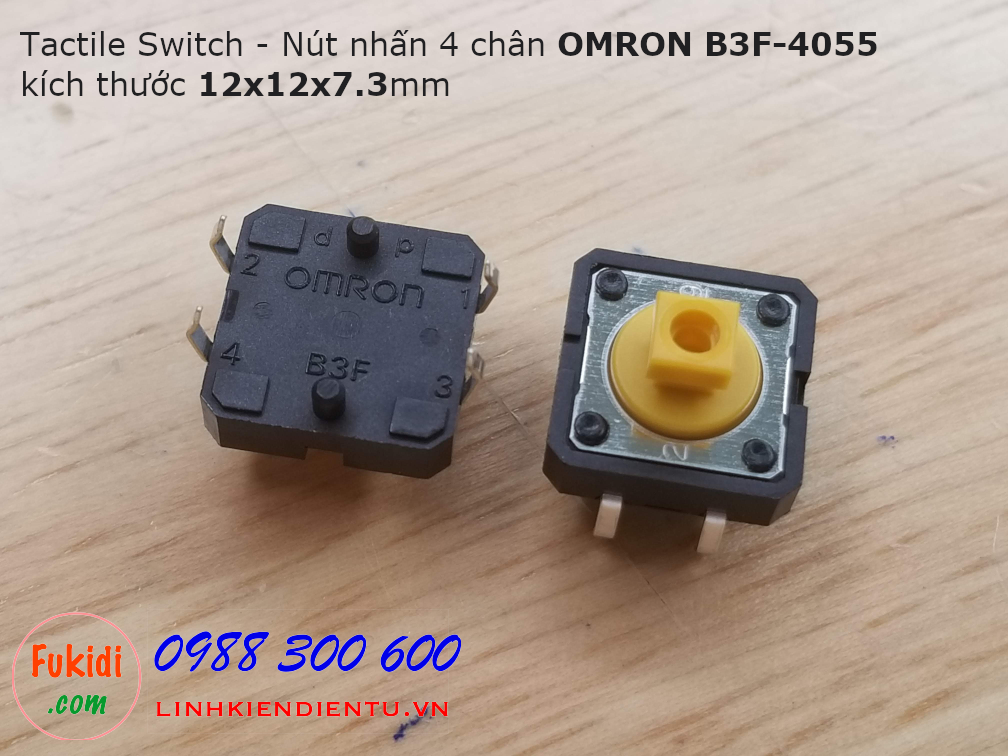 Tactile Switch - Nút nhấn 4 chân OMRON B3F-4055, 12x12x7.3mm