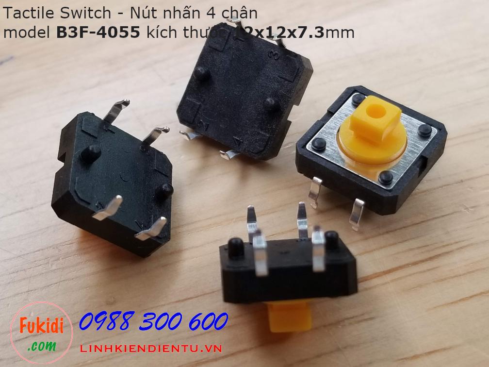Tactile Switch - Nút nhấn 4 chân B3F-4055, 12x12x7.3mm