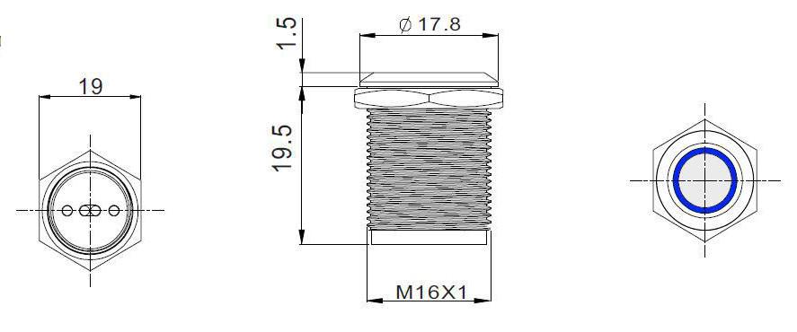Nút nhấn nhả cảm ứng vỏ inox có đèn xanh lục, phi 19, không thấm nước, điện áp 6-24V, dòng tải 7A BNT1924B