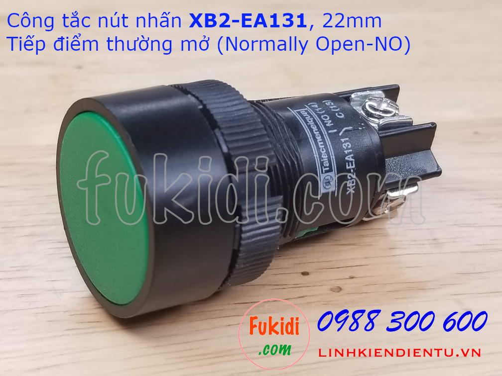 Nút nhấn nhả XB2-EA131 22mm màu xanh, thường mở (NO)