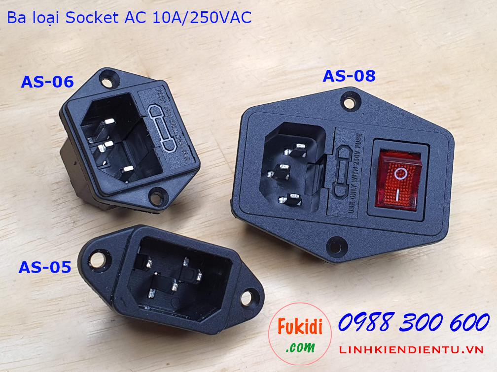 Socket cắm nguồn AC AS-08 10A/250VAC kèm đế cầu chì 5x20mm và công tắc có đèn