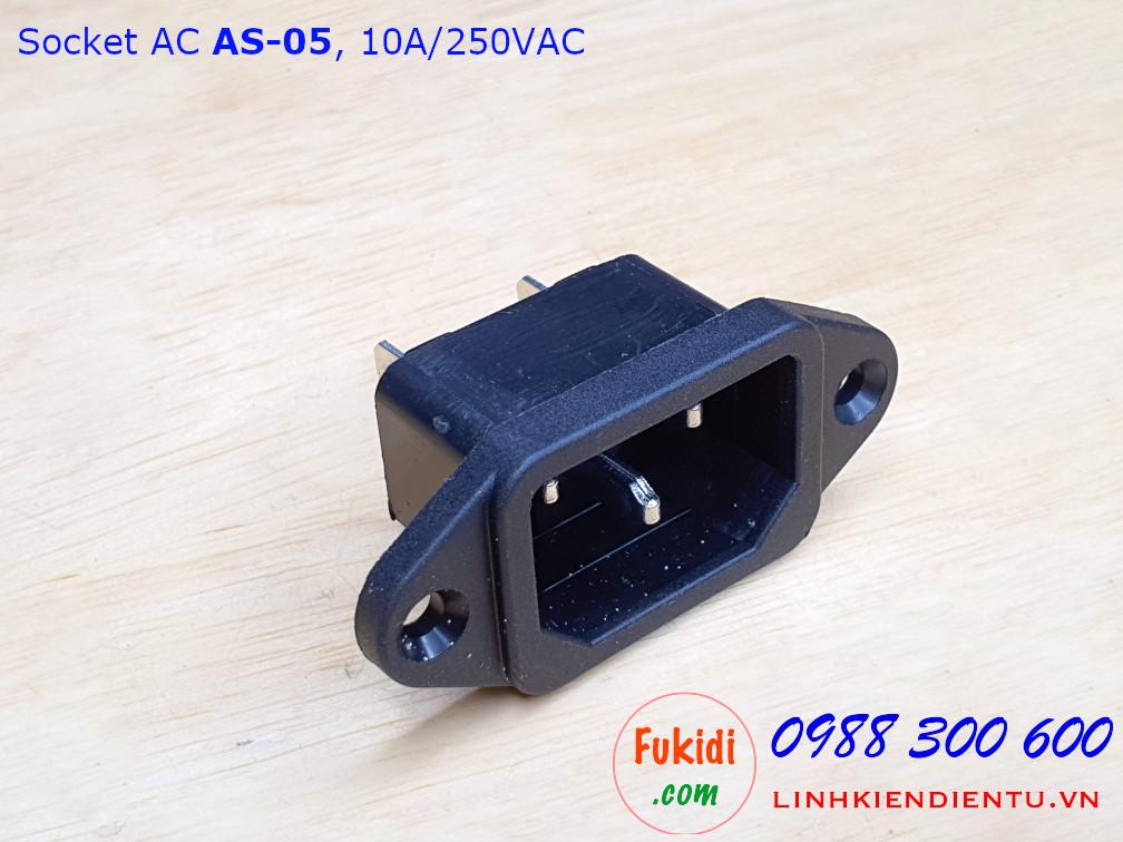 Socket cắm nguồn AC AS-05 10A/250VAC dùng cắm nguồn cho máy tính