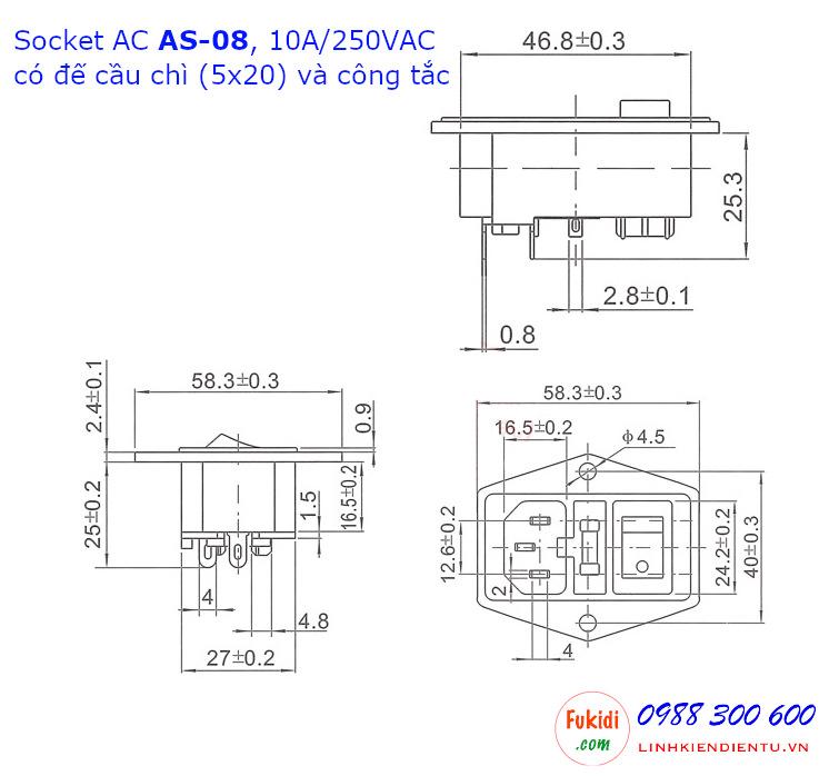 Chi tiết kích thước của socket AC AS-08