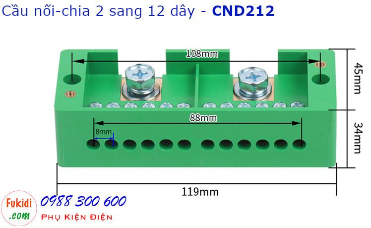 Chi tiết kích thước của cầu nối dây, cầu đấu chia dây điện, chia 2 sang 12 dây - CND212