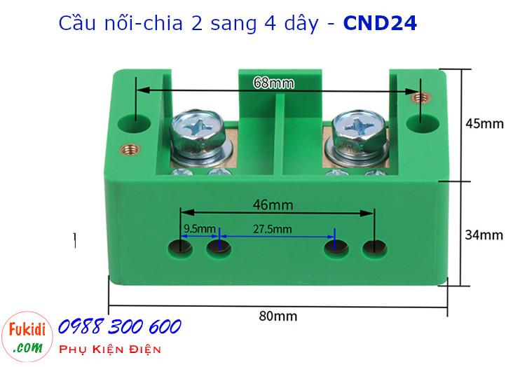 Chi tiết kích thước của cầu nối dây, cầu đấu chia dây điện, chia 2 sang 4 dây - CND24