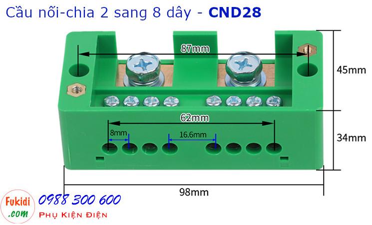 Chi tiết kích thước của cầu nối dây, cầu đấu chia dây điện, chia 2 sang 8 dây - CND28
