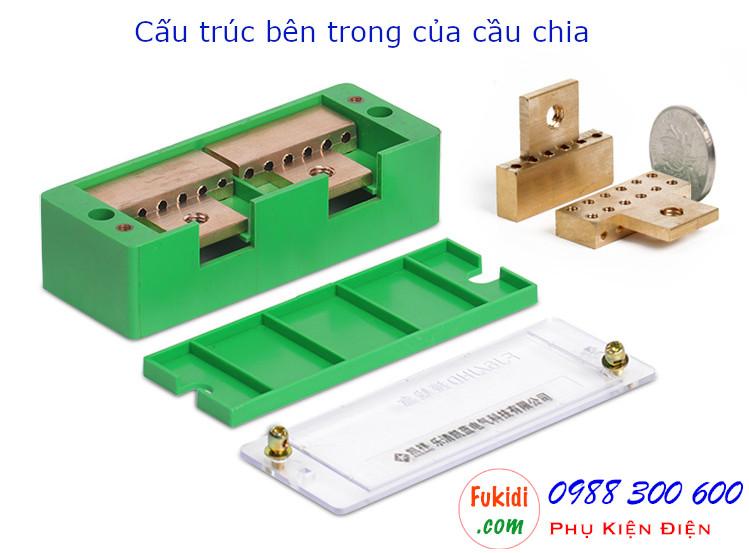 Cấu trúc bên trong của cầu nối dây, cầu đấu chia dây điện, chia 2 sang 4 dây - CND24