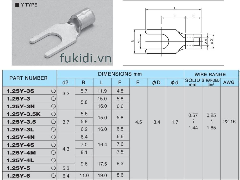 Đầu cốt (Cosse) Nichifu 1.25Y-3.5