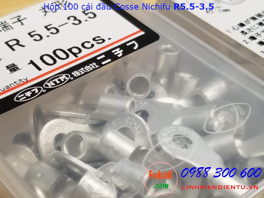 Đầu cos tròn Nichifu R5.5-3.5 dùng cho dây 3mm và vít 3.7mm