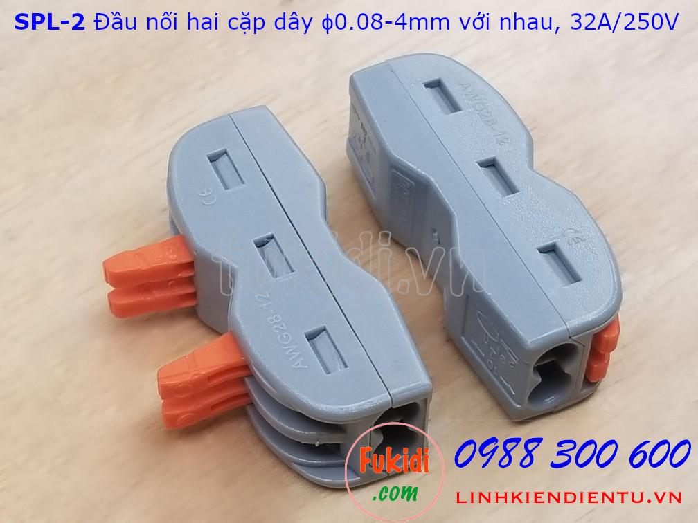 Cút nối dây, đầu nối hai cặp dây điện SPL-2 PCT-2122 32A 250V