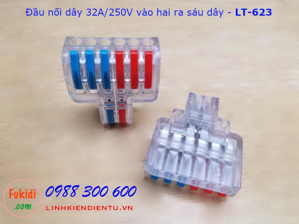 Đầu nối hai dây sang sáu dây LT-623 32A/250VAC