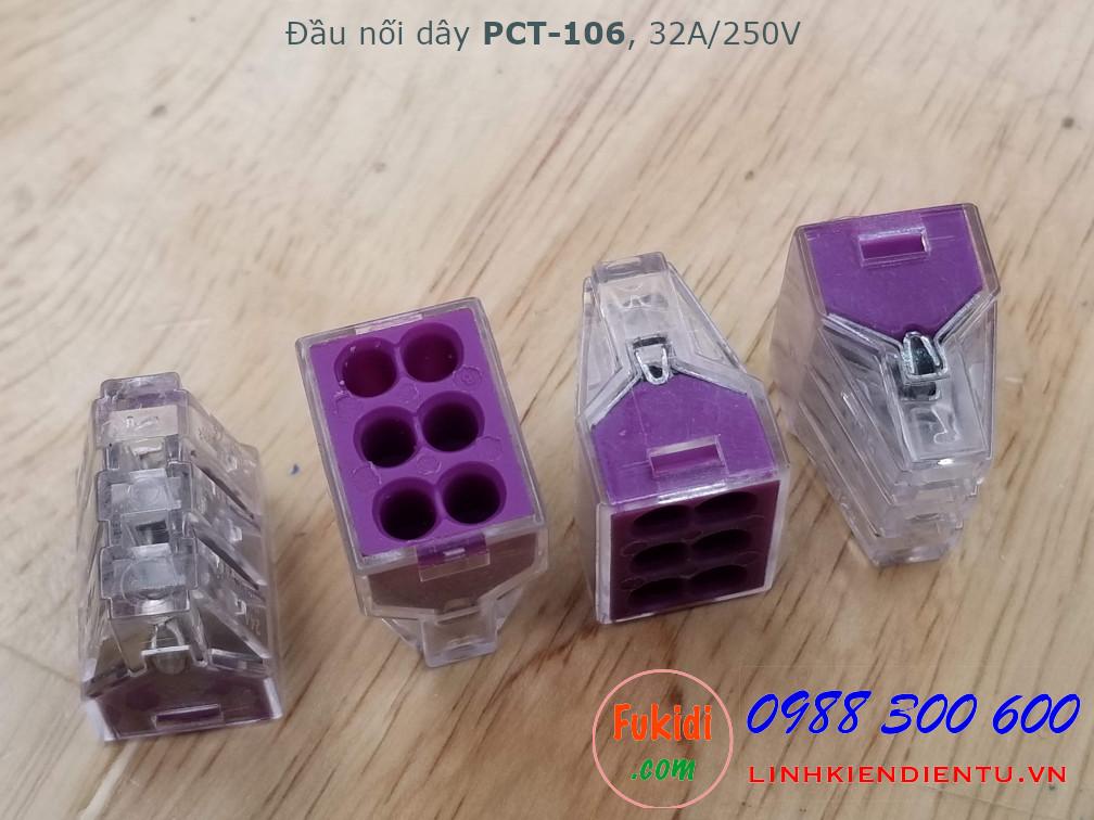 Cút nối dây, đầu nối dây PCT-106 32A 250V 4KW dùng nối 6 dây điện với nhau