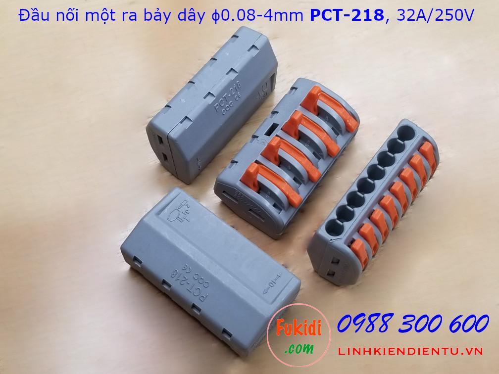 Cút nối dây, đầu nối dây PCT-218 32A 250V 4KW dùng nối 8 dây điện với nhau