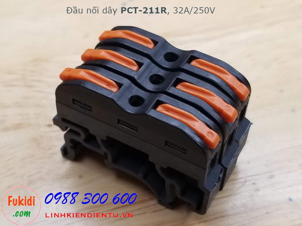 Đầu nối dây gắn ray PCT-211R dùng để nối hai dây điện với nhau