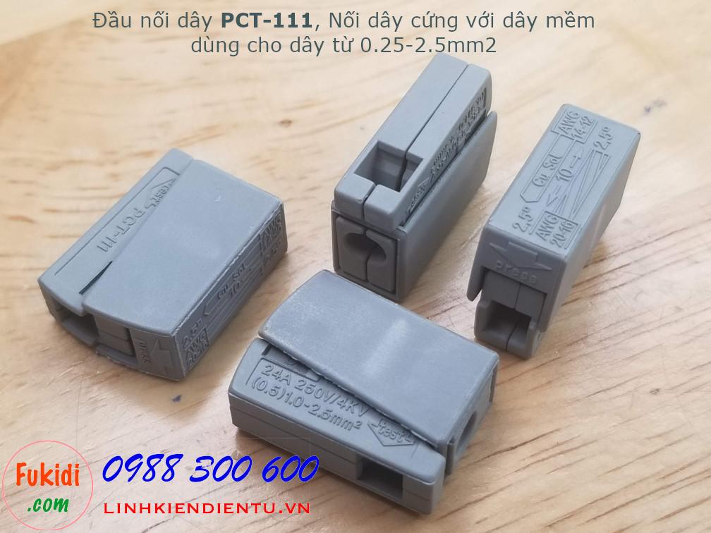 Đầu nối dây PCT-111 dùng nối dây điện cứng và dây mềm kích thước từ 0.25-2.5mm2